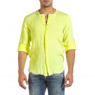 Cămașă cu mânecă lungă bărbați Duca Fashion galbenă