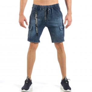 Pantaloni scurți de bărbați albaștri cu buzunare cargo