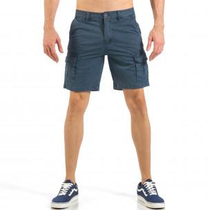 Pantaloni cargo scurți de bărbați albaștri cu imprimare mica