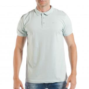 Tricou cu guler verde deschis basic pentru bărbați
