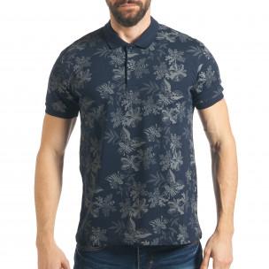 Tricou cu guler bărbați Madmext albastru