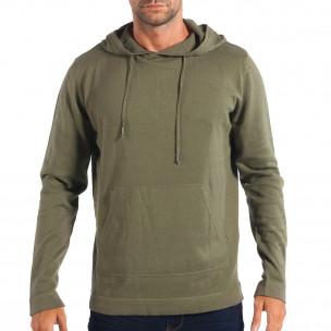 Pulover în verde RESERVED pentru bărbați model ușor cu glugă