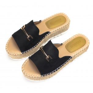 Papuci de dama în negri cu catarama de aur 2