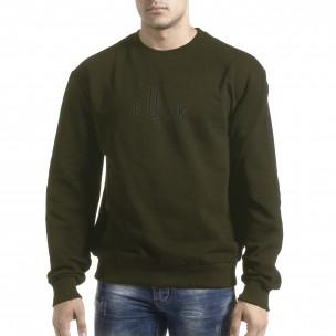 Bluză de bărbați verde militar cu imprimeu pe spate