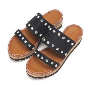 Papuci de dama negri cu pietre 2