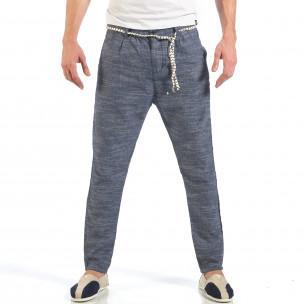 Pantaloni de bărbați albaștri cu șiret la talie