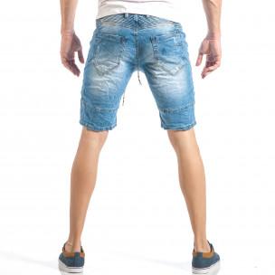 Blugi scurți pentru bărbați albaștri în stil rocker 2