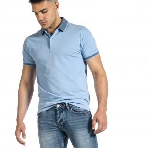 Tricou cu guler bărbați Baker's albastru