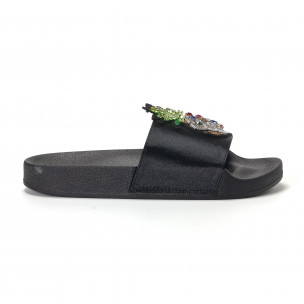 Papuci de dama negri cu ananas