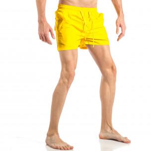 Costum de baie pentru bărbați galben cu banda în trei culori 2