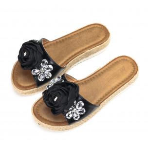 Papuci de dama negri cu floare și pietre 2