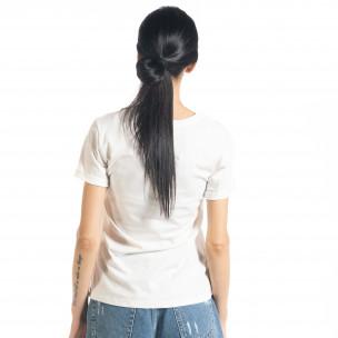 Tricou alb de dama cu aplic  2