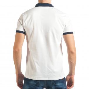 Tricou cu guler bărbați Madmext alb 2