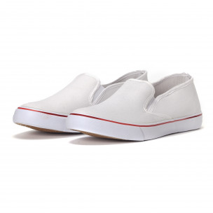 Teniși de bărbați albi slip-on model clasic   2