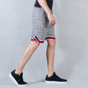 Pantaloni scurți de bărbați în carouri alb-negru cu manșete în 2 culori