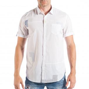 Cămașă cu mânecă scurtă de bărbați albă cu patch-uri