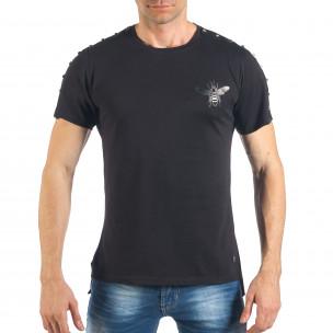 Tricou de bărbați negru cu aplicație și ținte