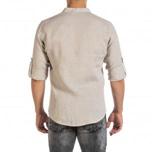 Cămașă cu mânecă lungă bărbați Duca Fashion bej 2