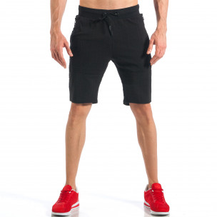 Pantaloni scurți de bărbați negri cu fermoar la crac