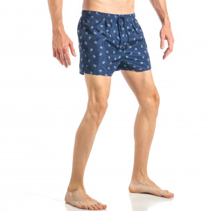 Costum de baie pentru bărbați albastru marin cu coroane  2