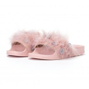 Papuci de dama roz cu puf și paiete 2