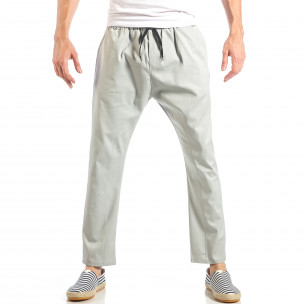 Pantaloni pentru bărbați gri cu talie elastica