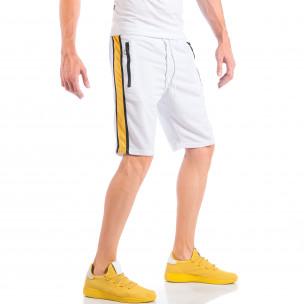 Pantaloni scurți de bărbați albi cu benzi și fermoare la buzunare 2