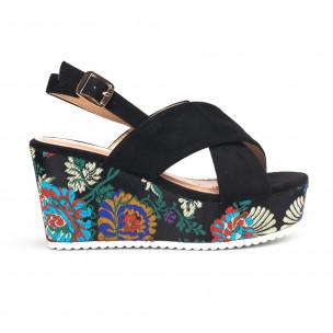 Sandale de dama negre cu platforma din jacard