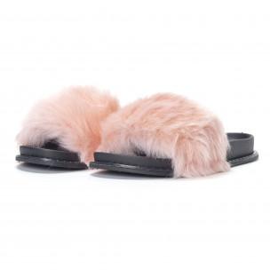 Papuci de dama roz cu puf 2