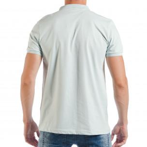 Tricou cu guler verde deschis basic pentru bărbați  2