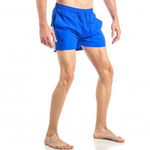 Costum de baie pentru bărbați albastru cu banda în trei culori 2