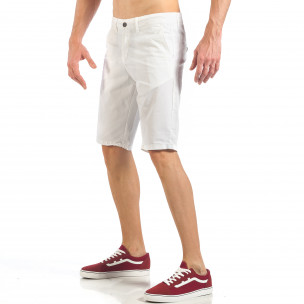 Pantaloni scurți de bărbați albi cu buzunare italiene 2
