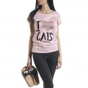 Tricou roz de dama cu imprimeu