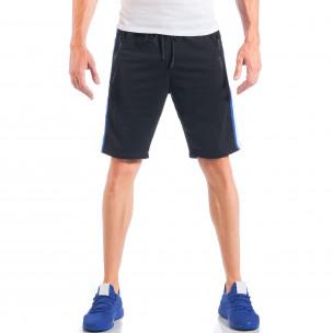 Pantaloni scurți de bărbați negri cu benzi și fermoare la buzunare