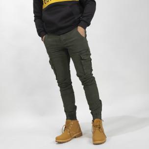 Pantaloni cargo Jogger de bărbați în culoarea Olive