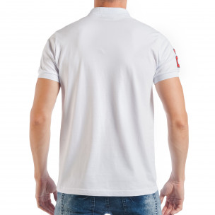Tricou alb de bărbați Pique cu număr 2  2