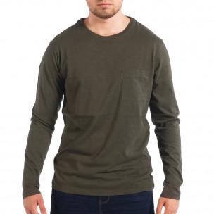 Bluză pentru bărbați RESERVED verde cu buzunar