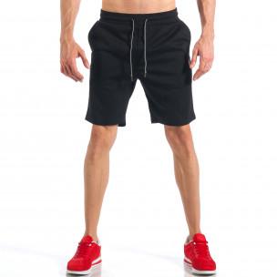 Pantaloni scurți de bărbați negri cu aplicație la crac  2