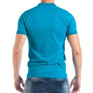 Tricou albastru deschis Pique pentru bărbați  2