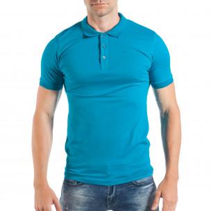 Tricou albastru deschis Pique pentru bărbați