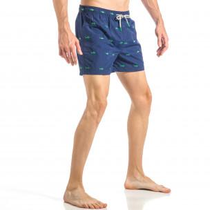 Costum de baie pentru bărbați albastru marin cu rechini  2