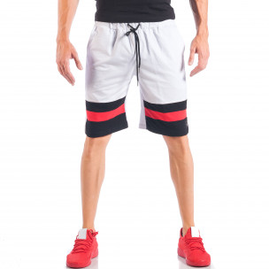 Pantaloni scurți pentru bărbați albi cu dungi și o stea metalică