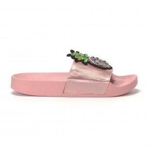 Papuci de dama roz cu ananas