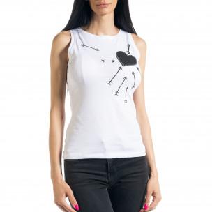 Bluză de dama albă fără mâneci 2