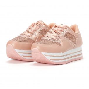 Pantofi sport de dama roz cu platforma și paiete 2