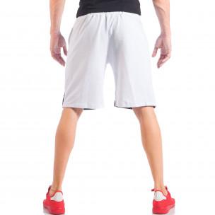 Pantaloni scurți pentru bărbați albi cu dungi și o stea metalică 2