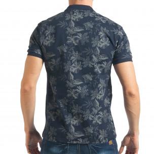Tricou cu guler bărbați Madmext albastru 2