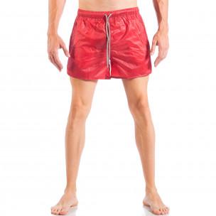 Costum de baie pentru bărbați roșu model simplu