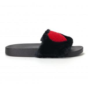 Papuci pufoși de dama negri cu inimioara
