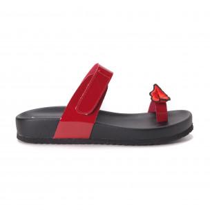 Papuci de dama roșii din imitație de piele lăcuită